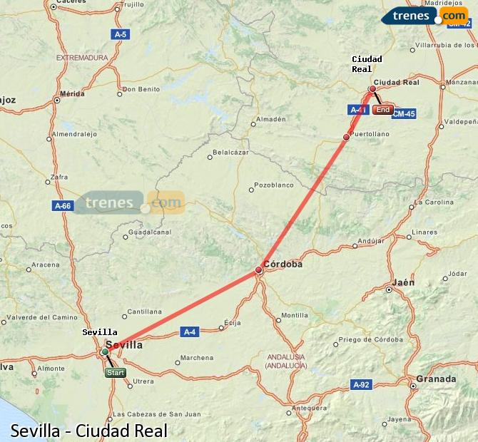 Enlarge map Trains Seville to Ciudad Real