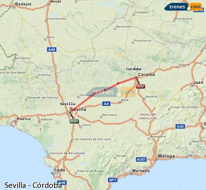 Enlarge map Trains Seville to Córdoba