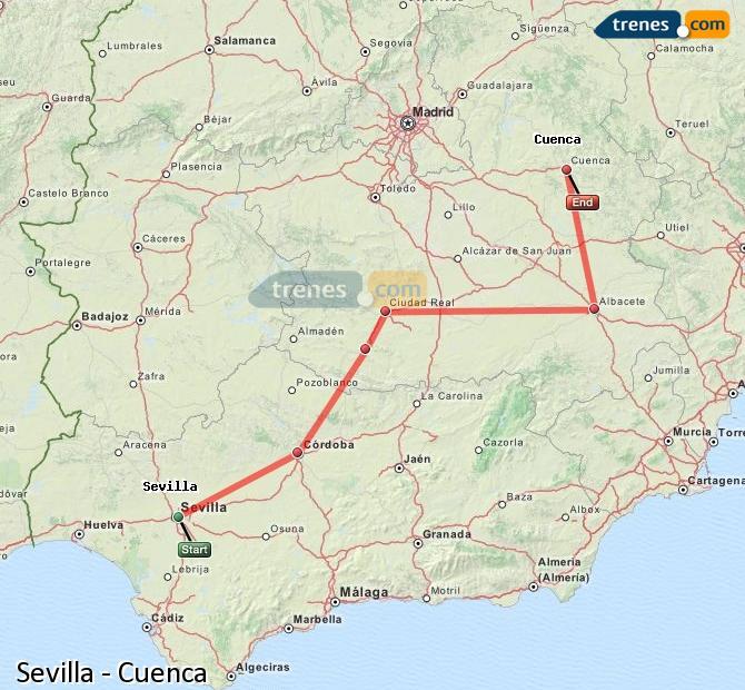 Karte vergrößern Züge Sevilla Cuenca