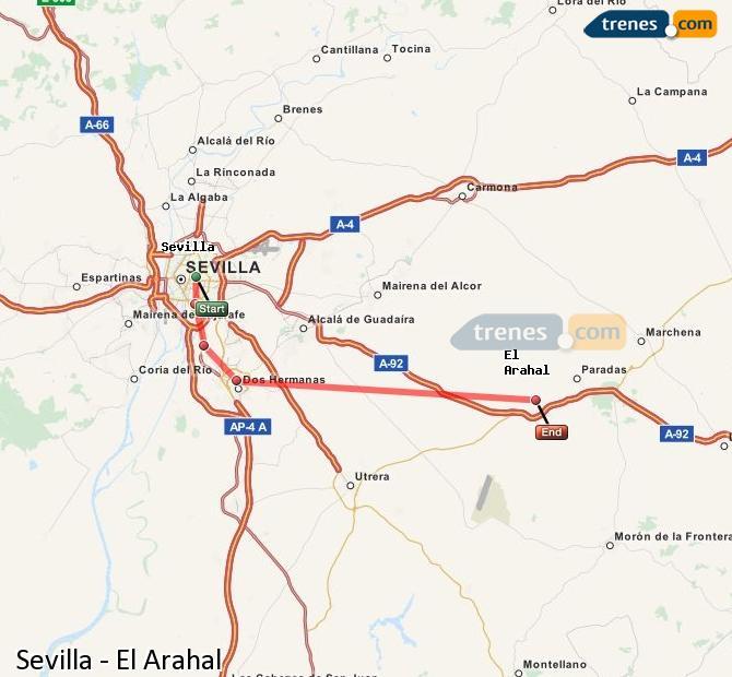 Enlarge map Trains Seville to El Arahal
