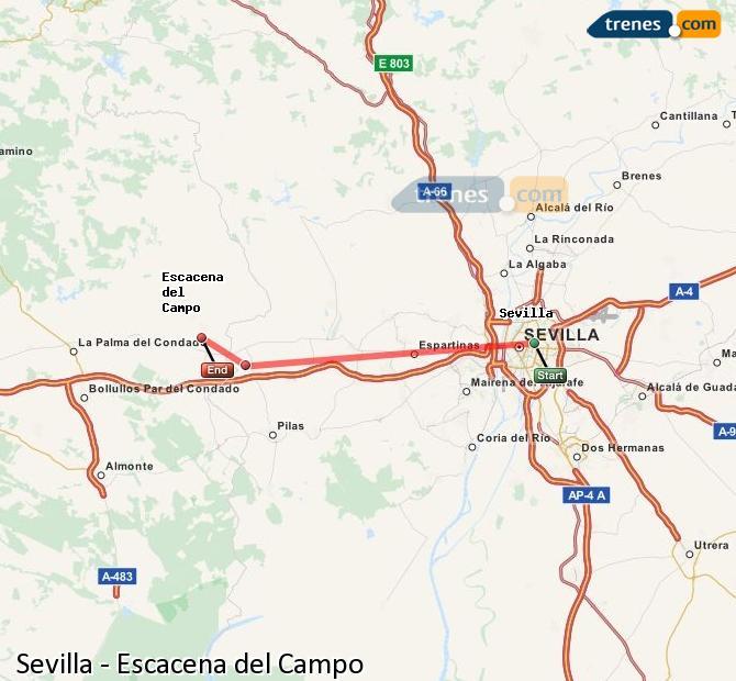 Enlarge map Trains Seville to Escacena del Campo