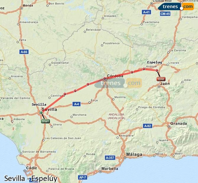 Enlarge map Trains Seville to Espelúy