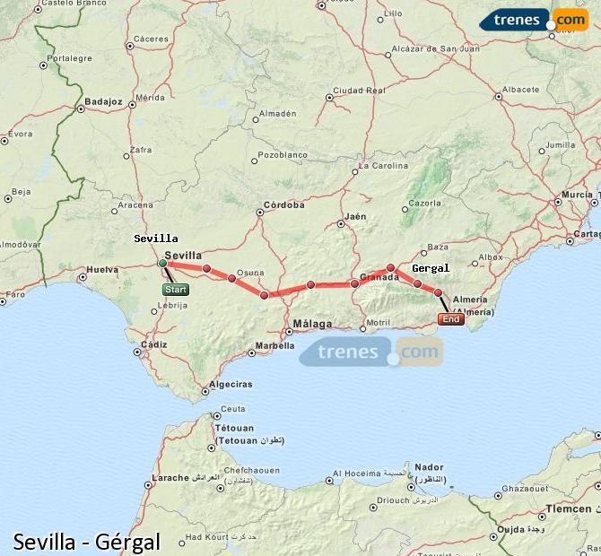 Karte vergrößern Züge Sevilla Gérgal