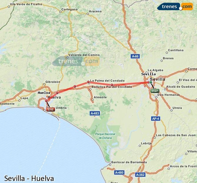Ampliar mapa Trenes Sevilla Huelva