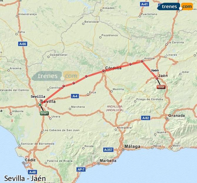 Enlarge map Trains Seville to Jaén