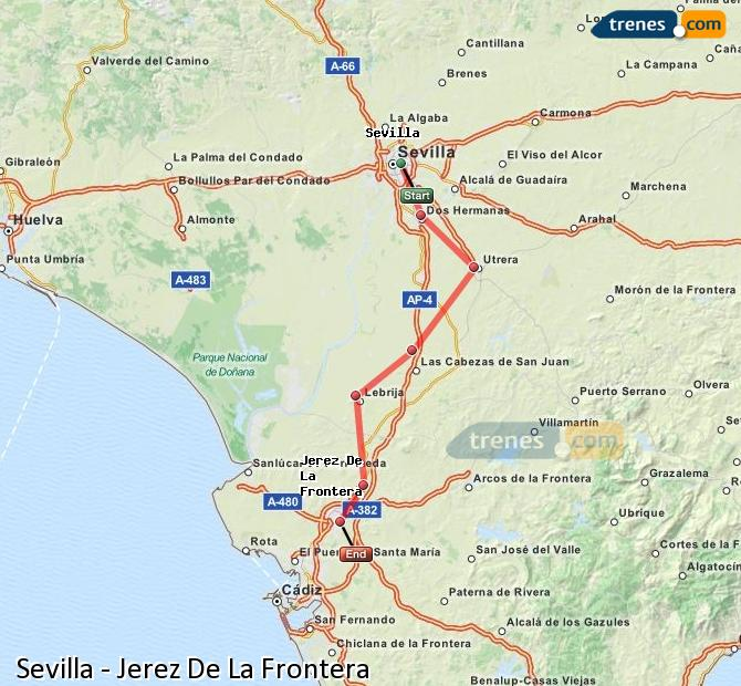 Ampliar mapa Trenes Sevilla Jerez De La Frontera