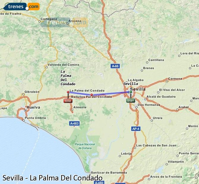 Karte vergrößern Züge Sevilla La Palma Del Condado