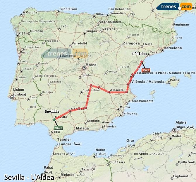 Ampliar mapa Trenes Sevilla L'Aldea