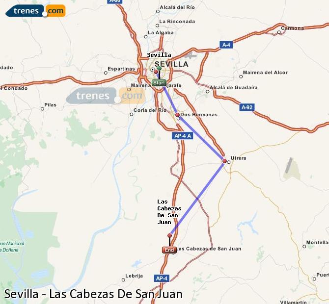 Karte vergrößern Züge Sevilla Las Cabezas De San Juan
