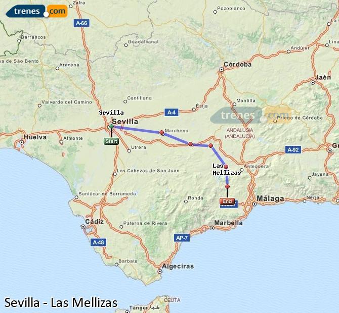 Karte vergrößern Züge Sevilla Las Mellizas