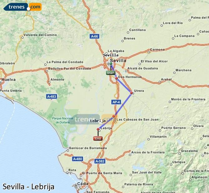 Enlarge map Trains Seville to Lebrija