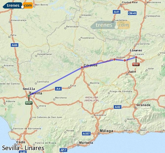 Enlarge map Trains Seville to Linares