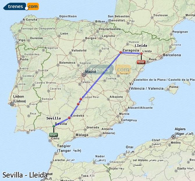 Enlarge map Trains Seville to Lleida