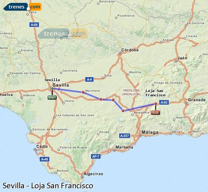 Agrandir la carte Trains Sevilla Loja San Francisco