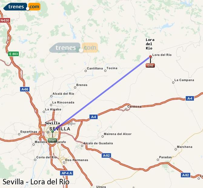 Enlarge map Trains Seville to Lora del Río