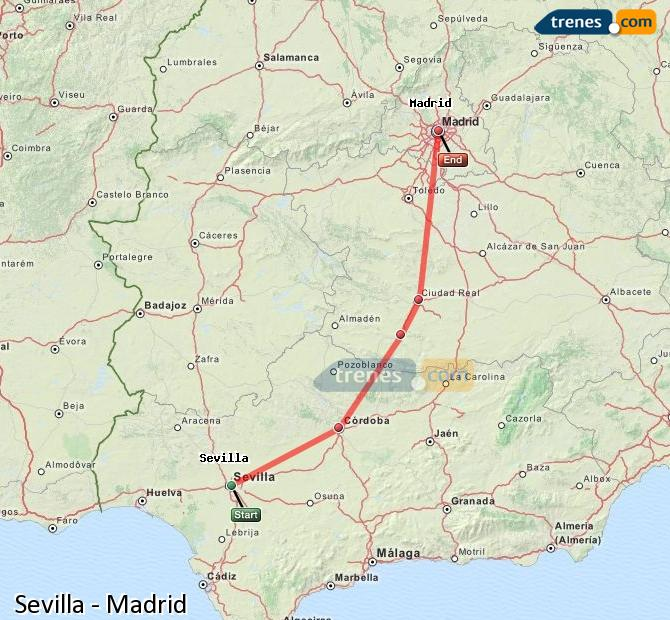 Enlarge map Trains Seville to Madrid