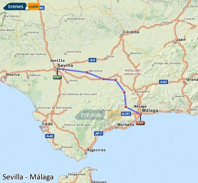Enlarge map Trains Seville to Malaga