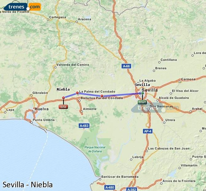 Enlarge map Trains Seville to Niebla