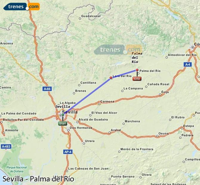 Enlarge map Trains Seville to Palma del Río