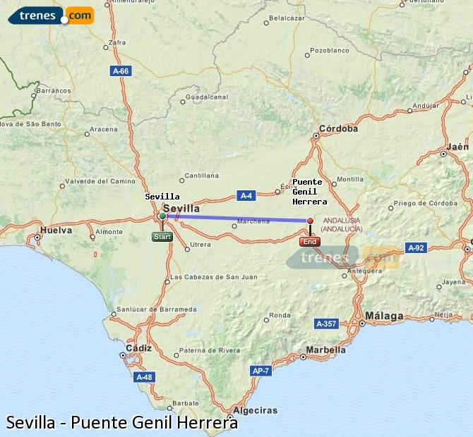 Enlarge map Trains Seville to Bridge Genil Herrera