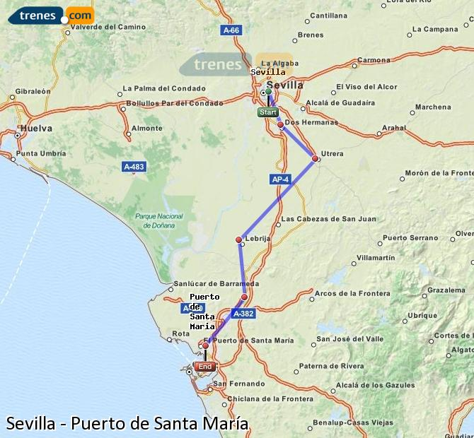 Enlarge map Trains Seville to Port of Santa Maria