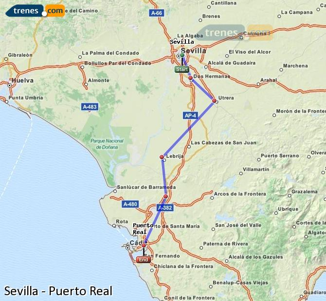 Enlarge map Trains Seville to Puerto Real