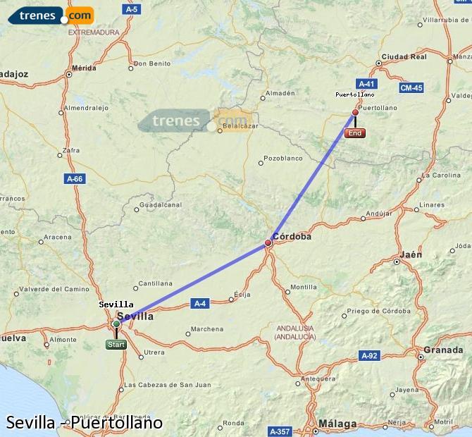 Karte vergrößern Züge Sevilla Puertollano