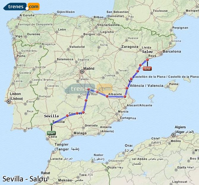 Karte vergrößern Züge Sevilla Salou