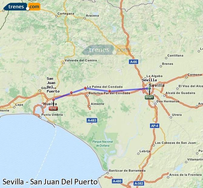 Karte vergrößern Züge Sevilla San Juan Del Puerto