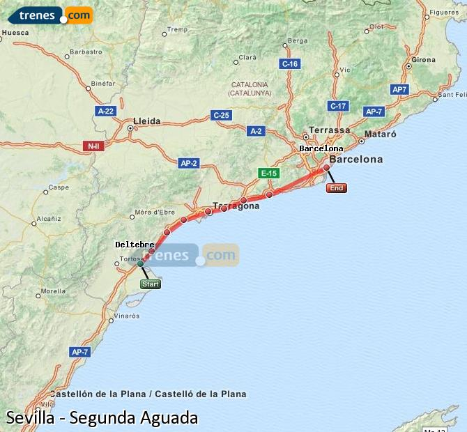 Enlarge map Trains Seville to Segunda Aguada