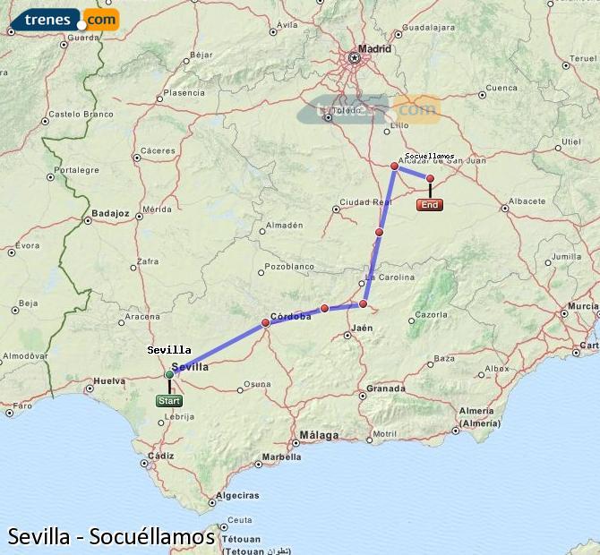 Ingrandisci la mappa Treni Sevilla Socuéllamos