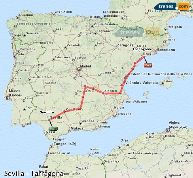 Enlarge map Trains Seville to Tarragona