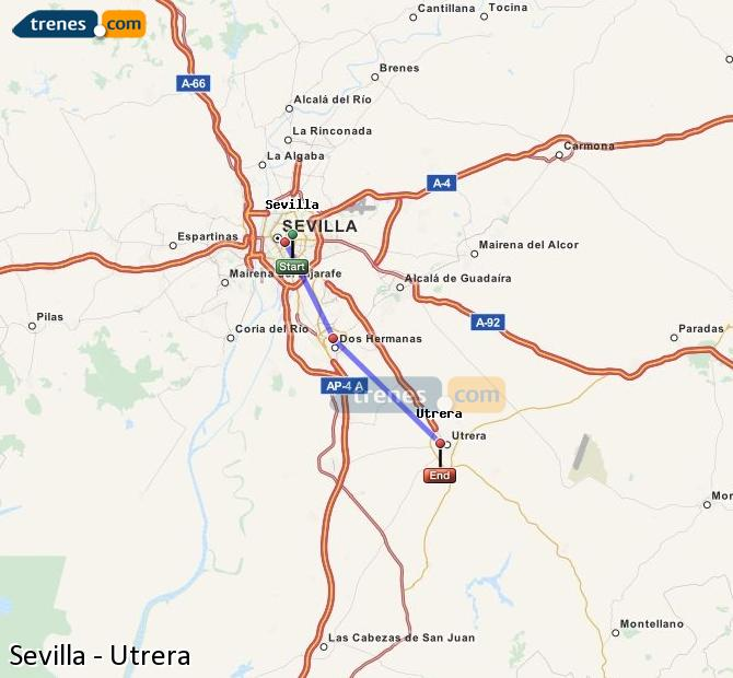 Enlarge map Trains Seville to Utrera