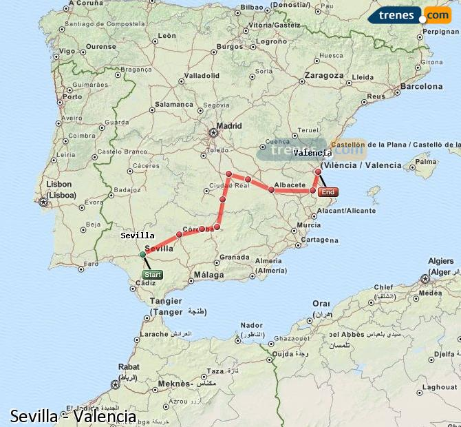 Enlarge map Trains Seville to Valencia