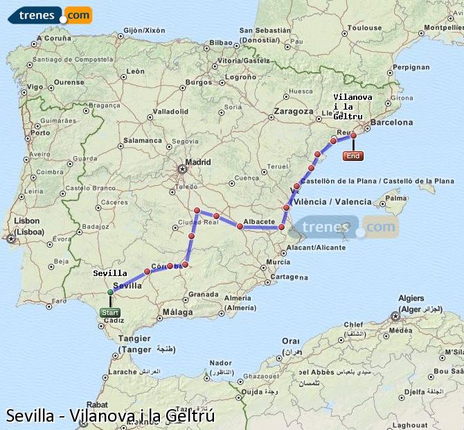 Ingrandisci la mappa Treni Sevilla Vilanova i la Geltrú