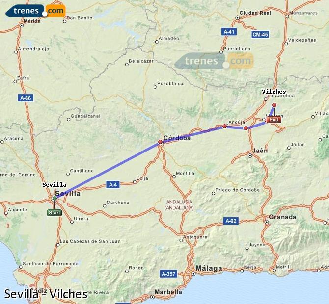 Karte vergrößern Züge Sevilla Vilches
