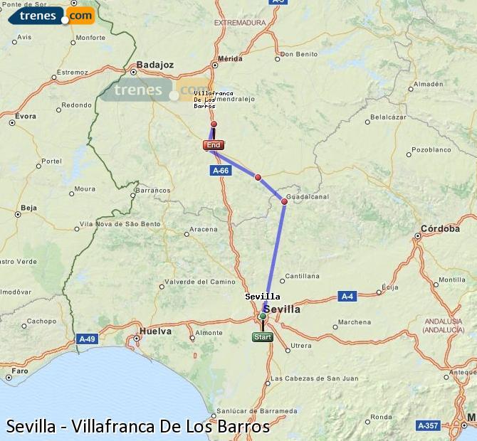 Enlarge map Trains Seville to Villafranca De Los Barros