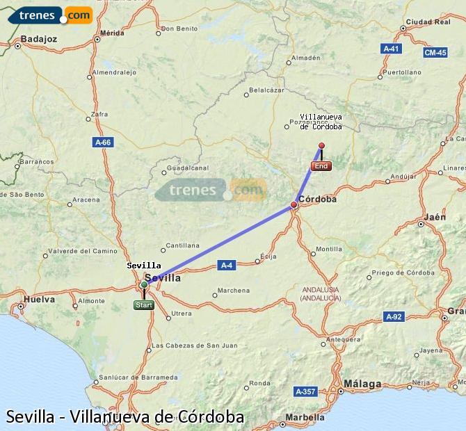 Enlarge map Trains Seville to Villanueva de Córdoba