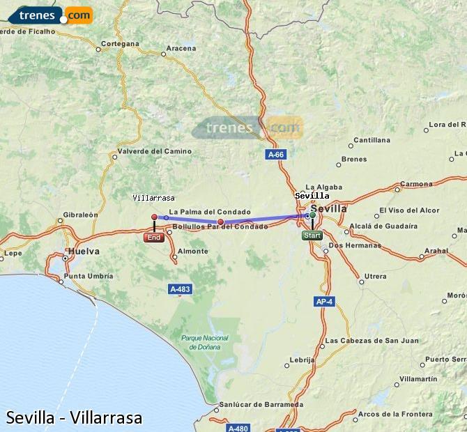 Ampliar mapa Trenes Sevilla Villarrasa
