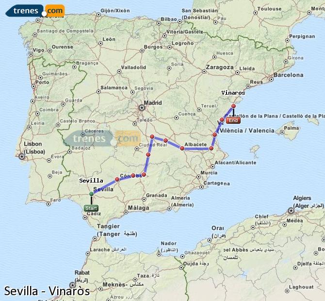 Ingrandisci la mappa Treni Sevilla Vinaròs
