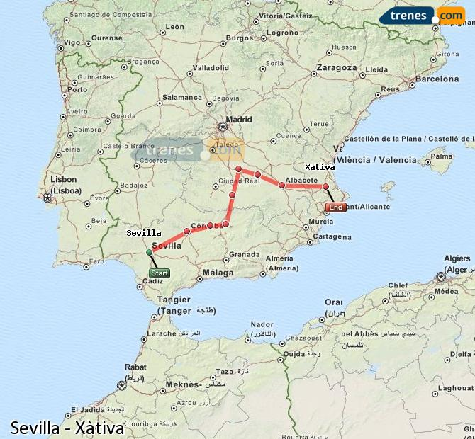 Enlarge map Trains Seville to Xativa