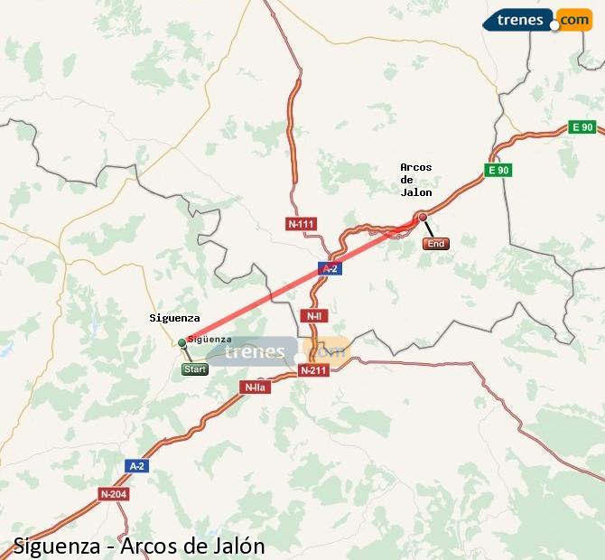 Enlarge map Trains Siguenza to Arcos de Jalón