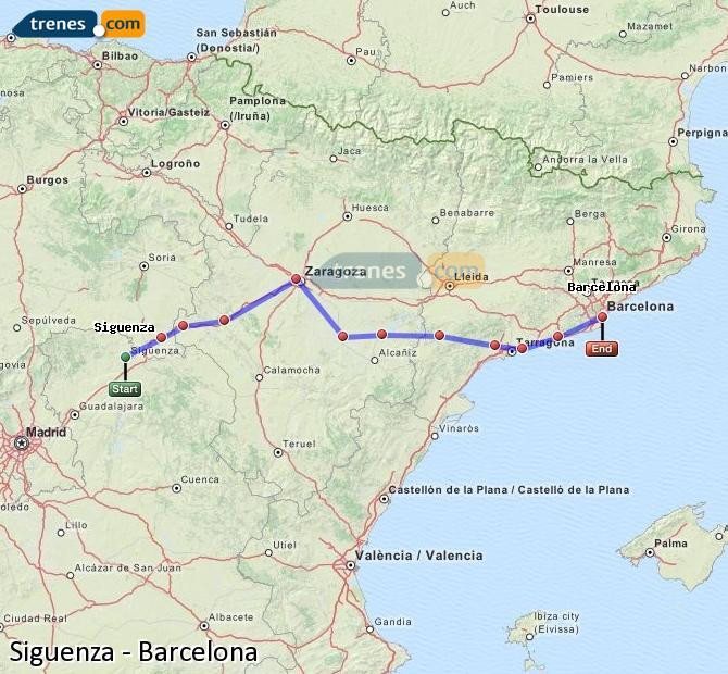 Karte vergrößern Züge Siguenza Barcelona