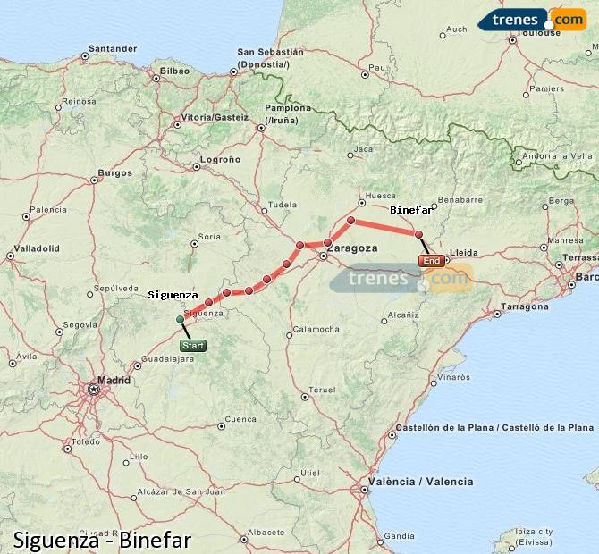 Ingrandisci la mappa Treni Siguenza Binefar