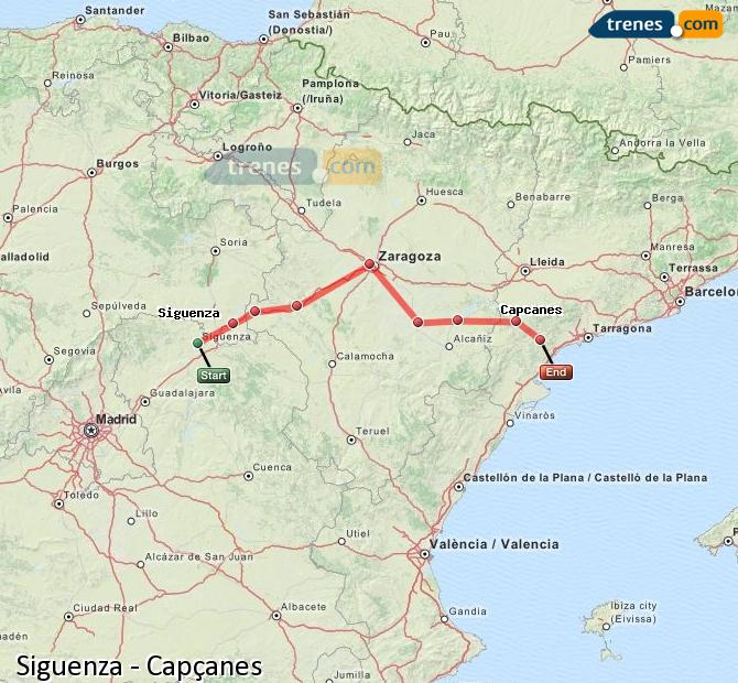 Ingrandisci la mappa Treni Siguenza Capçanes