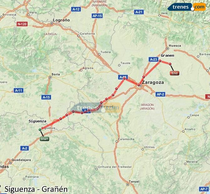 Ingrandisci la mappa Treni Siguenza Grañén