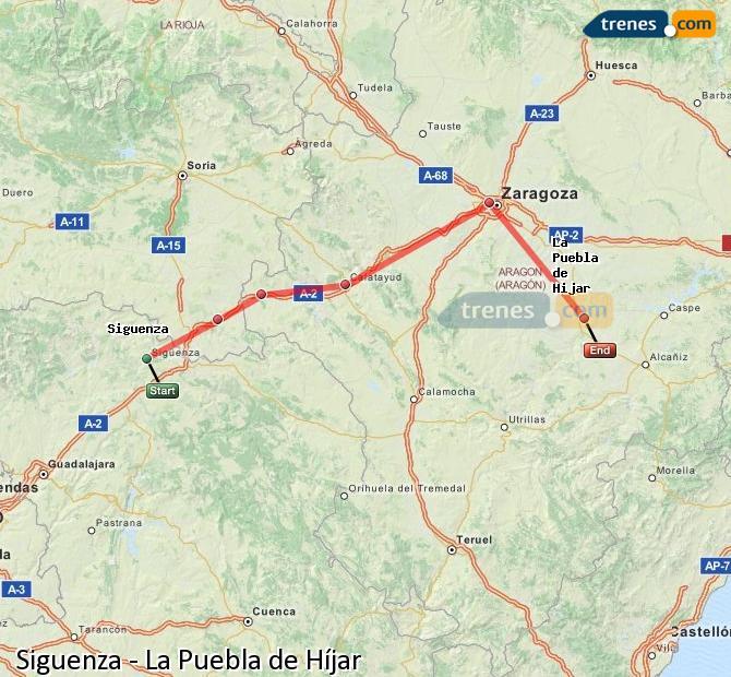 Karte vergrößern Züge Siguenza La Puebla de Híjar