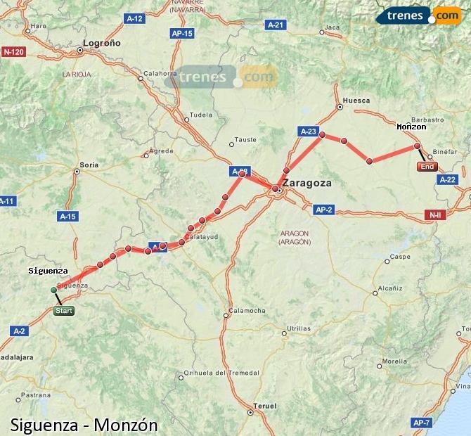 Karte vergrößern Züge Siguenza Monzón
