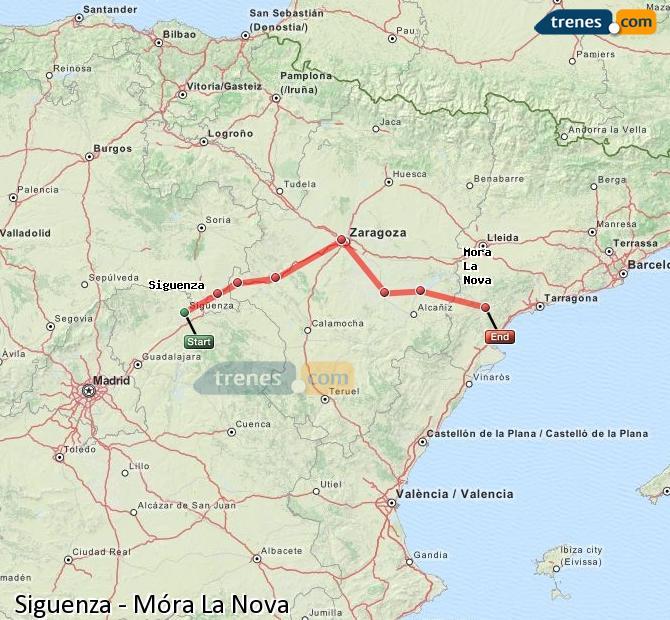 Agrandir la carte Trains Siguenza Móra La Nova