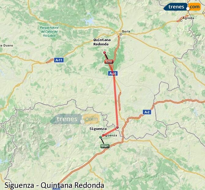 Ingrandisci la mappa Treni Siguenza Quintana Redonda